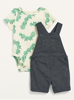 Canvas Shortalls & Jersey Bodysuit Set for Baby