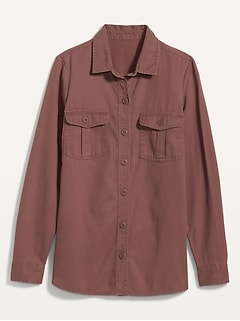Twill Utility-Pocket Tunic Camp Shirt for Women