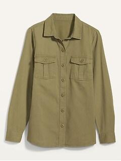 Twill Utility-Pocket Tunic Camp Shirt for Women