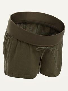 Maternity Rollover-Waist Linen-Blend Shorts -- 4-inch inseam