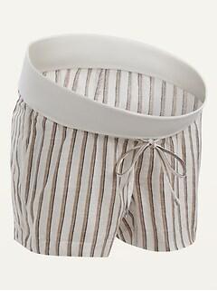 Maternity Rollover-Waist Striped Linen-Blend Shorts -- 4-inch inseam