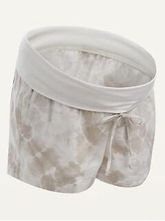 Maternity Rollover-Waist Tie-Dye Linen-Blend Shorts -- 4-inch inseam