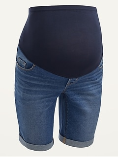 Maternity Full Panel Bermuda Jean Shorts -- 9-inch inseam