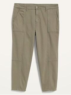 Extra High-Waisted Secret-Slim Pockets Sky Hi Straight Plus-Size Utility Jeans