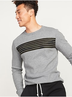 Thermal-Knit Camo Chest-Stripe Long-Sleeve Tee for Men