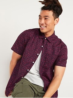 Printed Built-In Flex Everyday Short-Sleeve Shirt for Men