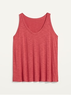 Luxe Slub-Knit Plus-Size V-Neck Tank Top