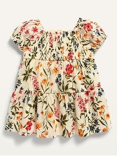 Robe à plumetis et smocks à manches bouffantes pour Bébé