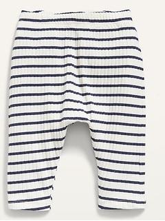 Unisex Rib-Knit Striped U-Shaped Pants For Baby