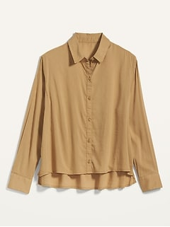 Oversized Cropped Swing Shirt for Women
