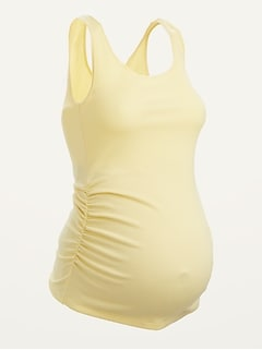 Maternity First-Layer Rib-Knit Side-Shirred Tank Top