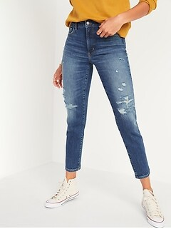 High-Waisted O.G. Straight Ripped Ankle Jeans for Women