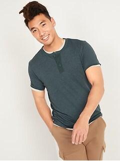 Slub-Knit Canvas-Placket Short-Sleeve Henley Tee for Men