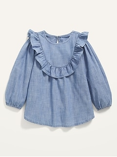 Ruffle-Trim Chambray Tunic for Toddler Girls
