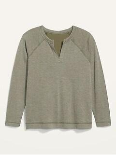 Loose Split-Neck Jersey-Knit Plus-Size Raglan-Sleeve Top