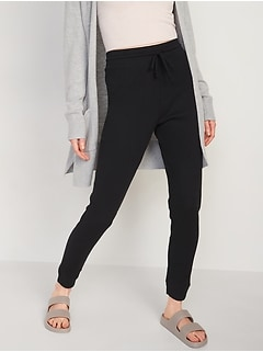 High-Waisted Thermal-Knit Jogger Lounge Pants for Women
