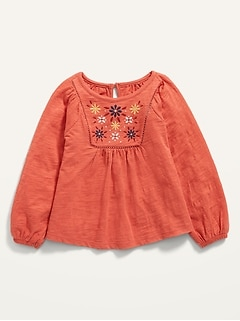 Vintage Embroidered Raglan Slub-Knit Top for Toddler Girls