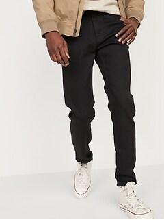 Relaxed Slim Taper Built-In Flex Black Jeans for Men