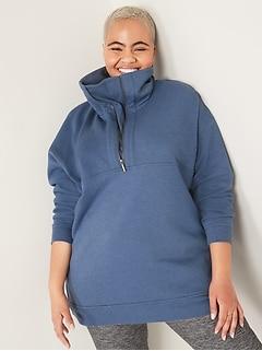 Oversized Half-Zip French Terry Funnel-Neck Sweatshirt for Women