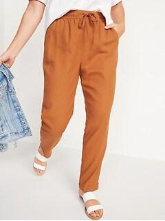 Pantalon droit court à taille haute en mélange de lin pour Femme
