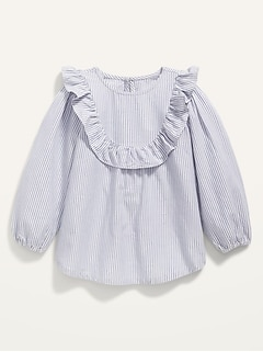 Pinstripe Ruffle-Yoke Tunic for Toddler Girls