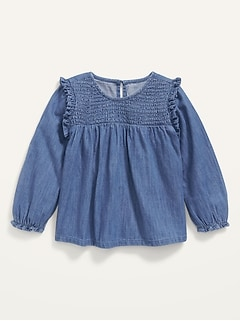 Long-Sleeve Smocked Ruffle-Trim Chambray Top for Toddler Girls