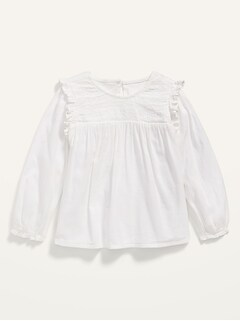 Long-Sleeve Smocked Ruffle-Trim Top for Toddler Girls