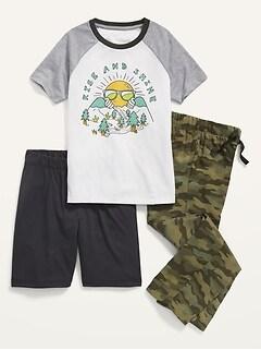 Pyjama imprimé 3pièces avec pantalon, t-shirt et short pour Garçon