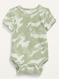 Cache-couche henley unisexe en tricot côtelé et manches courtes pour Bébé