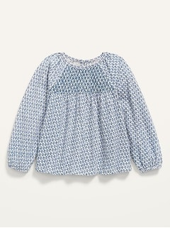 Raglan-Sleeve Smocked Jersey Top for Toddler Girls
