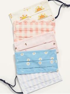Paquet de 5 masques en tissu à plis à triple épaisseur pour enfant (ajustables aux oreilles)