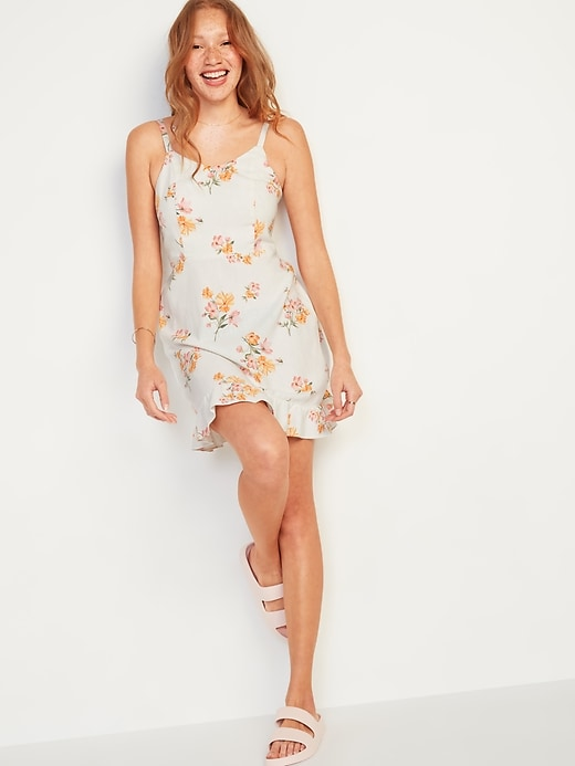 Floral-Print Fit & Flare Ruffle-Hem Cami Dress for Women