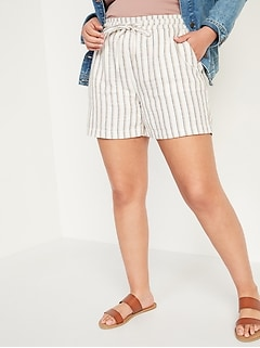 High-Waisted Dobby-Stripe Linen-Blend Shorts for Women -- 4-inch inseam
