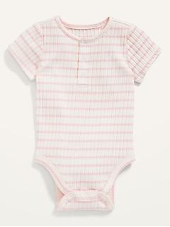 Cache-couche henley unisexe en tricot côtelé rayé pour Bébé