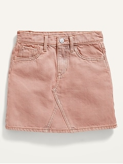 High-Waisted Pop-Color Jean Skirt for Girls