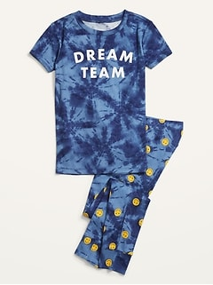Matching Gender-Neutral Graphic Pajama Set for Kids