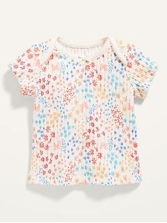 Haut à manches courtes en tricot côtelé imprimé pour Bébé