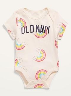 Cache-couche à manches courtes à imprimé et logo pour Bébé