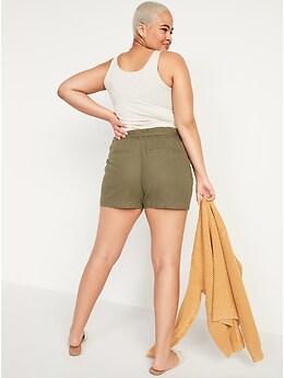 High-Waisted Tie-Belt Linen-Blend Shorts for Women -- 4-inch inseam