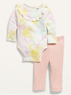 Cache-couche à manches longues à volants et legging pour Bébé