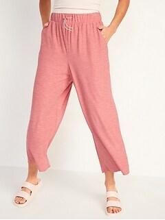 Pantalon Breathe ON trois quarts à jambe large et taille haute pour femme