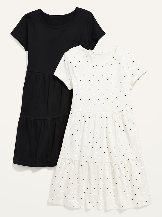 2-Pack Short-Sleeve Tiered Jersey Dress for Girls