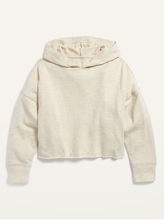 Oversized Raw-Hem Cropped Pullover Hoodie for Girls
