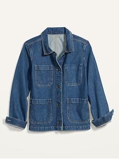 Medium-Wash Jean Chore Jacket for Women
