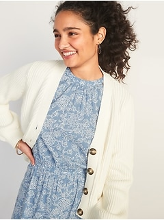 Textured Shaker-Stitch Button-Front Cardigan Sweater for Women