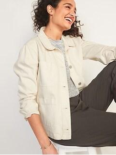 Ecru-Wash Jean Chore Jacket for Women