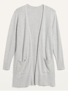 Long-Line Plus-Size Open-Front Sweater