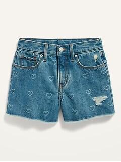 Extra High-Waisted Sky-Hi Frayed-Hem Jean Shorts for Girls