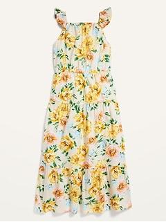 Robe longue étagée sans manches à fleurs pour Fille