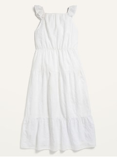 Sleeveless Eyelet Tiered Maxi Dress for Girls